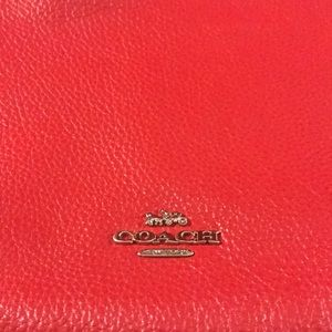 Red COACH crossbody handbag, wallet and coin purse